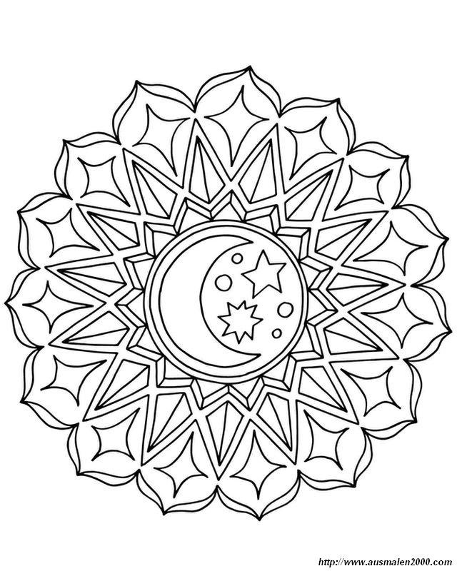 ausmalbilder mandalas bild mandala mond und sterne