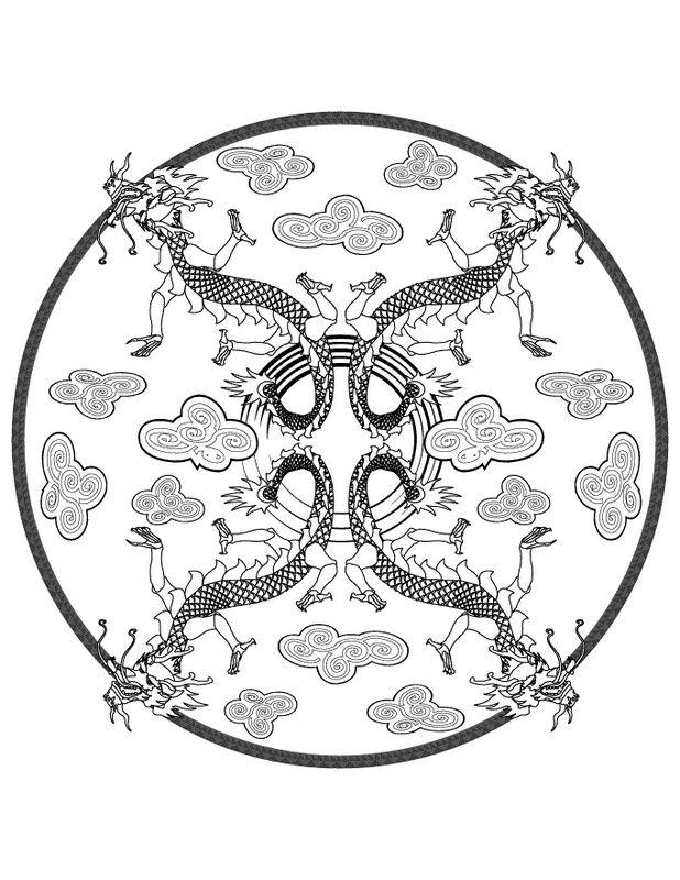 Ausmalbilder Mandalas Bild Mandala Mit Vier Drachen