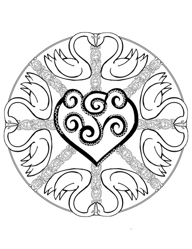 Ausmalbilder Mandalas Bild Mit Tieren Und Ein Herz In Der Mitte