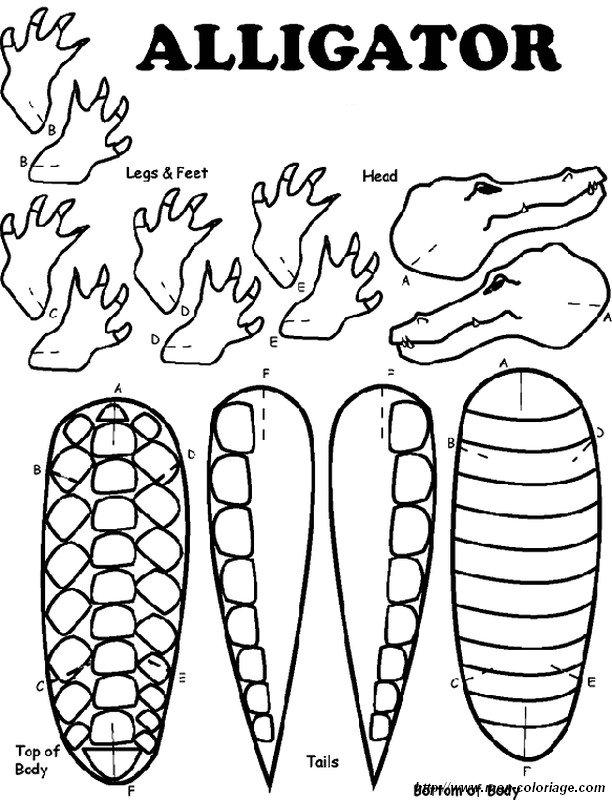 Ausmalbilder Ausschneiden und Scrapbooking, bild alligator oder krokodil
