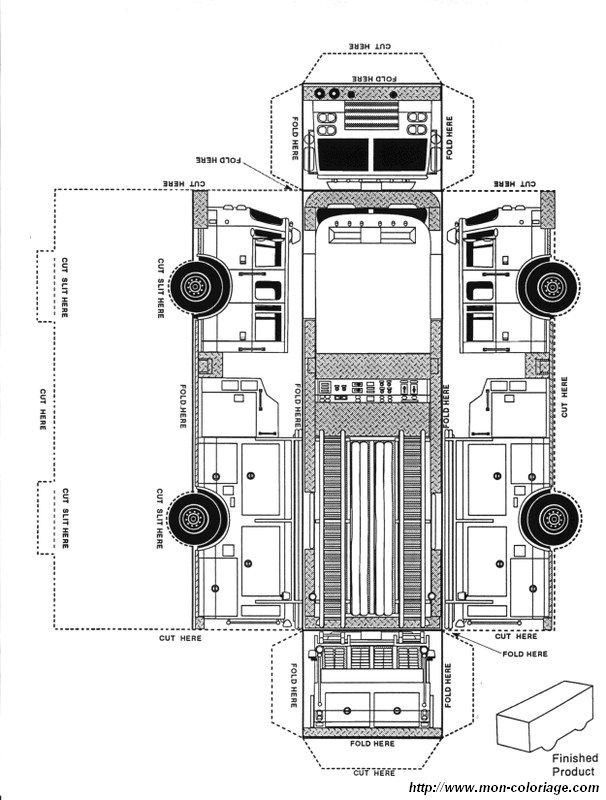 Ausmalbilder Ausschneiden Und Scrapbooking Bild Feuerwehrauto