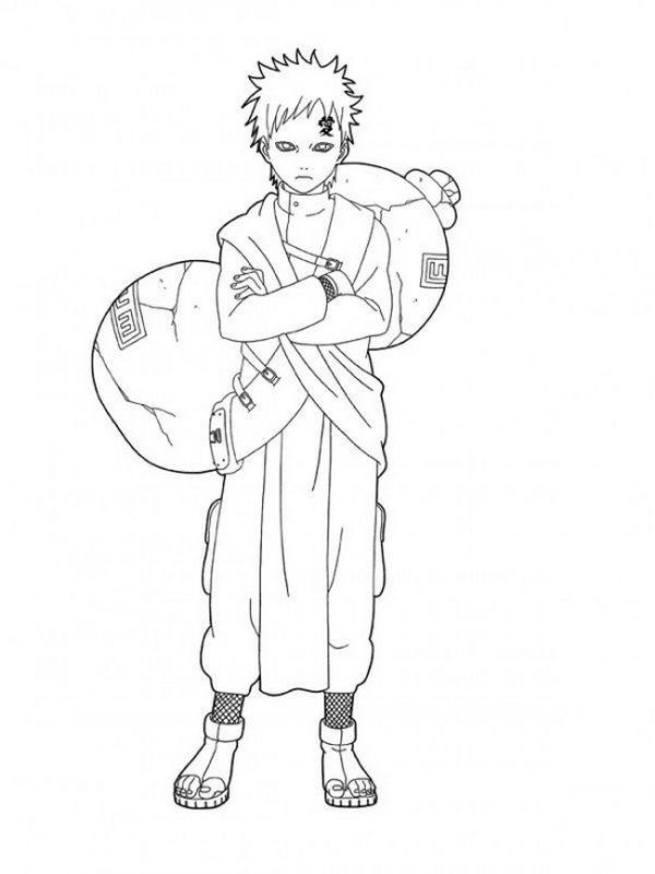 Tasche ausmalbild  Ausmalbilder Naruto, bild Gaara mit einer grossen Tasche