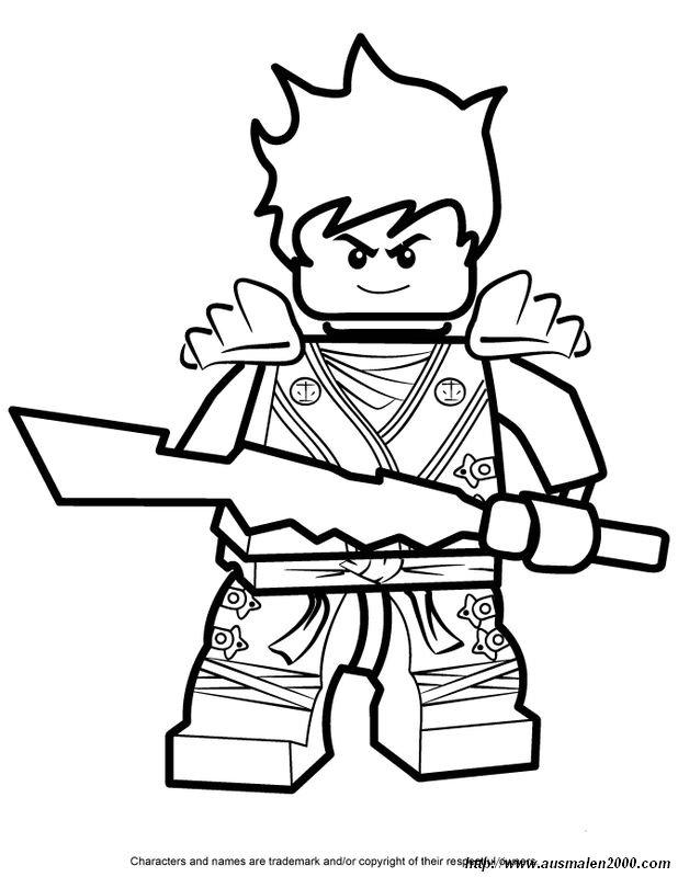 Ausmalbilder Ninjago, bild Cole und seine Waffe
