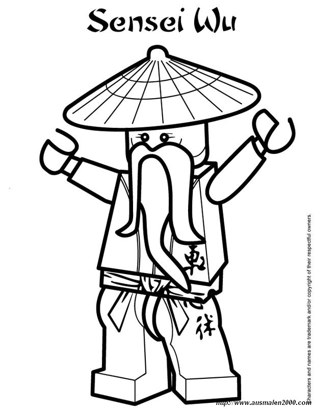 Ausmalbilder Ninjago, bild Sensei Wu der Meister