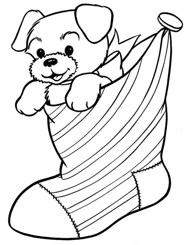ausmalbilder weihnachten bild ein kleiner hund. Black Bedroom Furniture Sets. Home Design Ideas