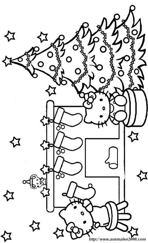 ausmalbilder weihnachten bild hello kitty und weihnachtsbaum. Black Bedroom Furniture Sets. Home Design Ideas