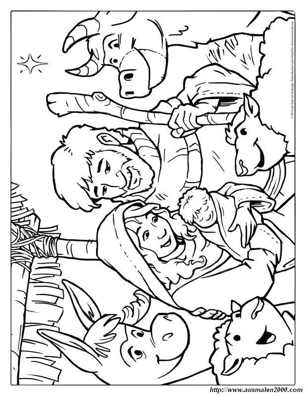 Ausmalbilder Weihnachten Bild Jesus Christus Mit Maria Und Josef