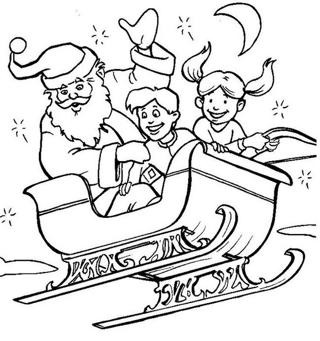 ausmalbilder weihnachten bild weihnachtsmann schlitten