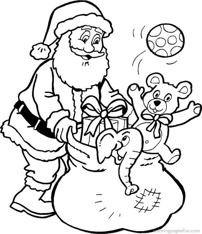 ausmalbilder weihnachten bild weihnachtsmann mit geschenken. Black Bedroom Furniture Sets. Home Design Ideas