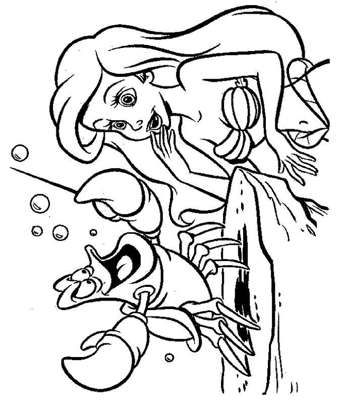 Ausmalbilder Die Meerjungfrau Bild Sebastian Die Krabbe Spricht Mit