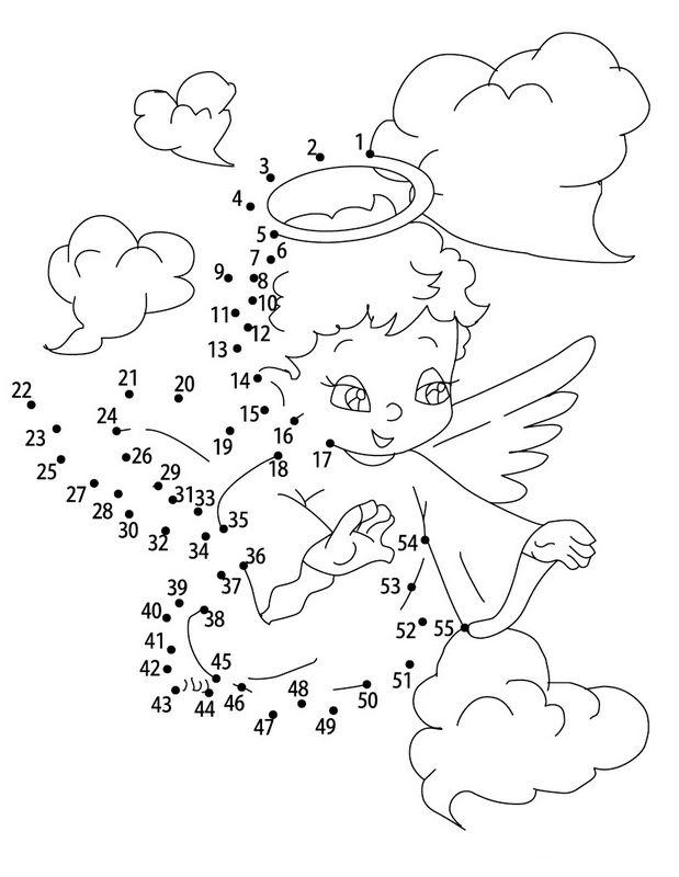 Ausmalbilder Zahlenbilder , bild Ein Engel in den Wolken