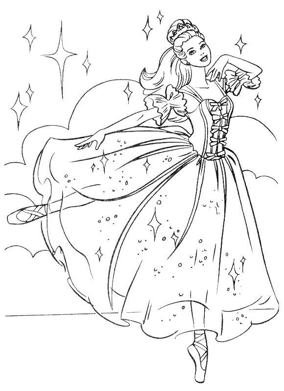 Ausmalbilder Prinzessin und Prinz, bild Barbie Ballerina mit einem ...