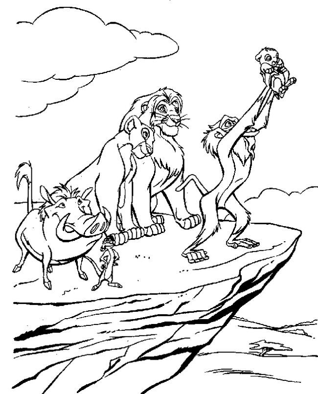 Ausmalbilder Der König der Löwen, bild Mit Rafiki der mandrill