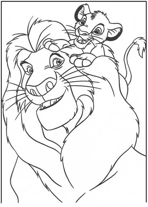 Ausmalbilder Der König der Löwen, bild Mufasa und Simba spielen