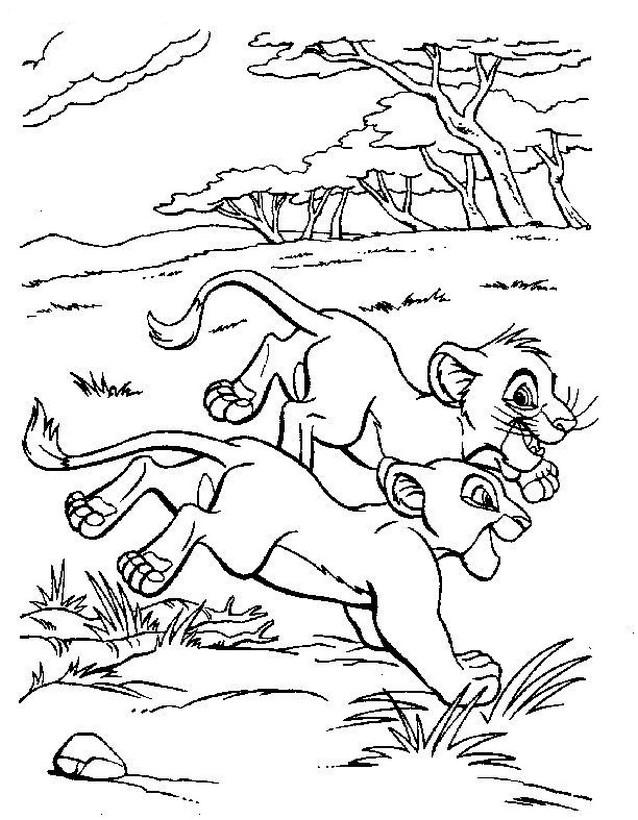 ausmalbilder der könig der löwen bild simba und nala zusammen