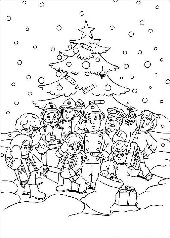 Ausmalbilder Frohe Weihnachten.Ausmalbilder Feuerwehrmann Sam Bild Frohe Weihnachten