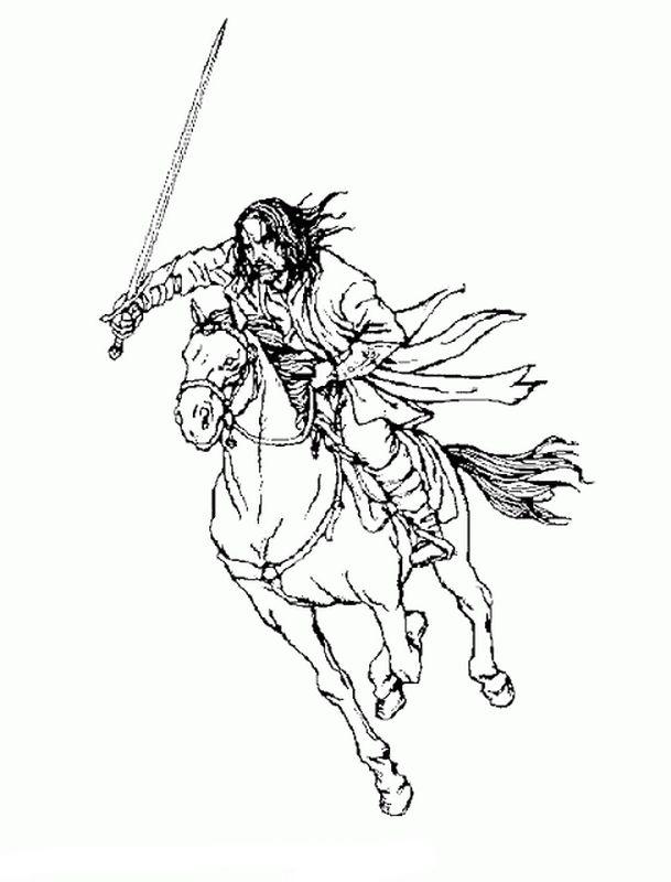 Ausmalbilder Der Herr Der Ringe Bild Aragorn Mit Einem Schwert