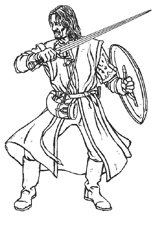 aragorn coloring pages | Ausmalbilder Der Herr der Ringe, bild Konig von Gondor Aragorn