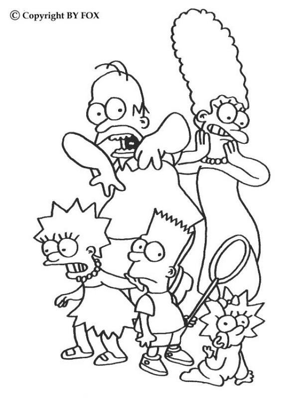 ausmalbilder die simpsons bild die ganze familie