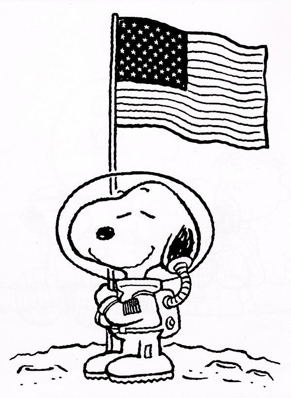Ausmalbilder Snoopy, bild Ein Astronaut auf dem Mond