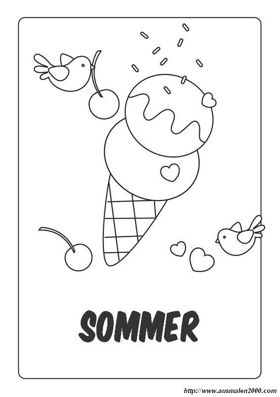 Ausmalbilder Sommer, bild Kinder gehen wir ein Eis essen