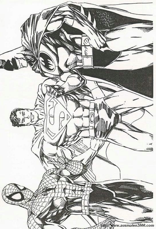 Ausmalbilder Spiderman Bild Batman Spidermand Und Superman