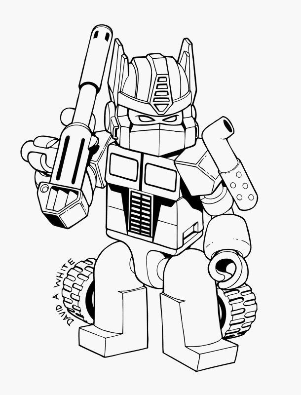 ausmalbilder transformers, bild ein kleiner roboter