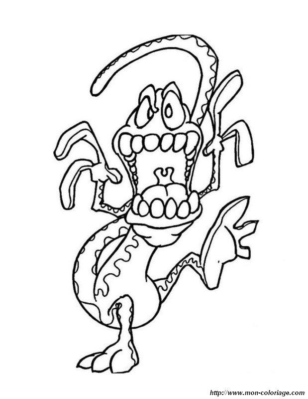 Ausmalbilder Monster Und Menschenfresser Bild Halb Schlange Und Drache