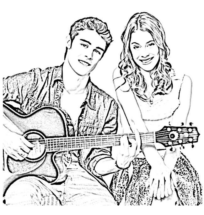 Ausmalbilder Violetta Bild Ein Lied Mit Einer Gitarre