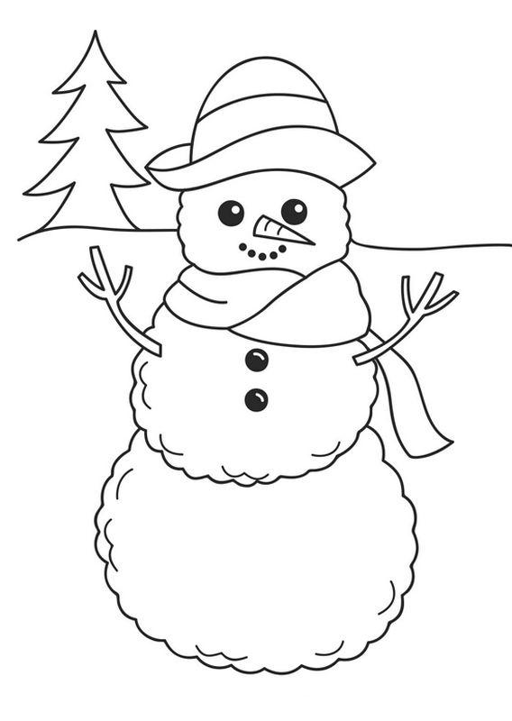 Ausmalbilder Winter und Schnee, bild Baum und Schneemann