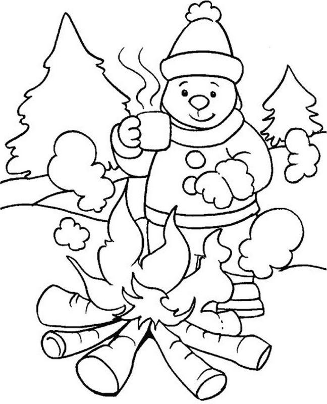 ausmalbilder winter und schnee, bild ein gutes holzfeuer