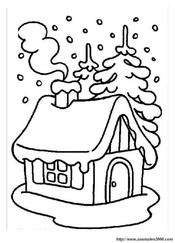 Ausmalbilder Winter Und Schnee Bild Haus Unter Schnee