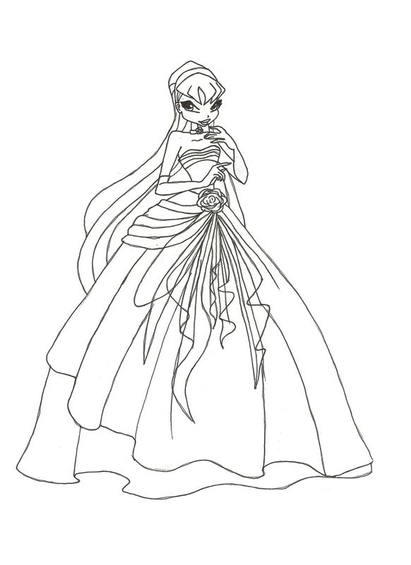 Ausmalbilder Winx Bild Das Hochzeitskleid Von Winx